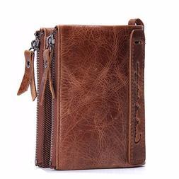 Men Genuine Leather Cowhide Zip Wallet Vintage Bifold with D