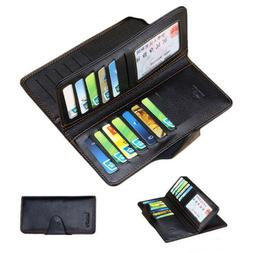 Men's Bifold Leather Multi Credit Card Holder Checkbook Purs