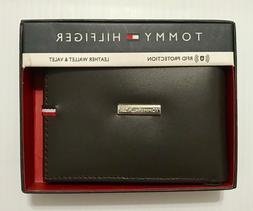 Tommy Hilfiger Men's Brown Billfold Leather Wallet RFID Prot