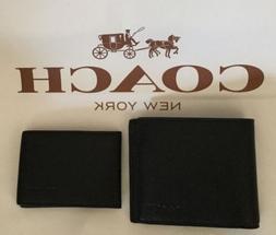 COACH Men's Compact ID Sport Calf Leather Wallet Black F7499