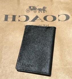 Coach  Men's Crossgrain Leather Bifold Card Case Wallet Blac