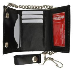 Men's Genuine Leather Black Eagle Trifold Wallet/Chain Biker