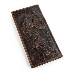 Men's Genuine Leather Long Wallet With Zipper Pocket Vintage