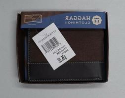 Men's Haggar Bifold Billfold Leather/Canvas Passcase Wallet