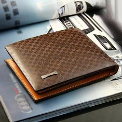 Men's Leather Bifold ID Card Holder Purse Wallet Billfold Ha