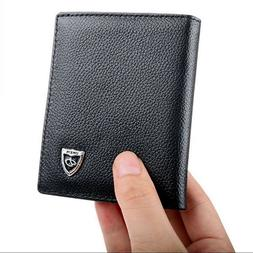 Men's Leather Bifold ID Credit Card Holder Wallet Small Purs