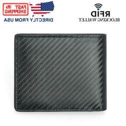 DKER Men's Leather RFID Blocking Fashion Carbon Fiber Bifold