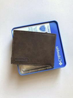 Columbia Men's Leather RFID Extra Capacity Slimfold Security