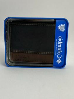 Men's Columbia leather Wallet Black And Brown in RFID shield