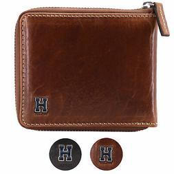 Tommy Hilfiger Men's Leather Zip Around Wallet Passcase Bill