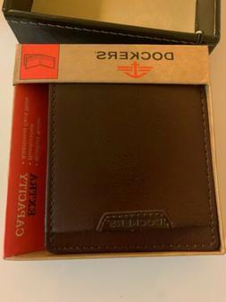 Dockers Men's New Brown Leather SlimFold Wallet