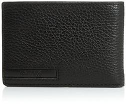 Calvin Klein Men's Pebble Leather Slim Fold with Key Fob, Bl