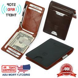 Men's RFID Block Genuine Top Grain Leather Money Clip Slim C