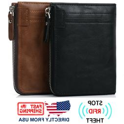 Men's RFID Blocking ID Window Zipper Pocket Leather Bifold W