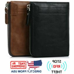 Men's RFID Business Leather Bifold Zipper Purse Coin Pocket
