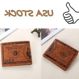 Men US Dollar Bill Wallet PU Leather Credit Card Photo Holde