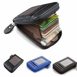 Men Wallet Credit Card Holder Genuine Leather RFID Blocking