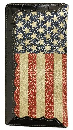 Men Wallet Western Bifold Check Book Style W045 American Fla