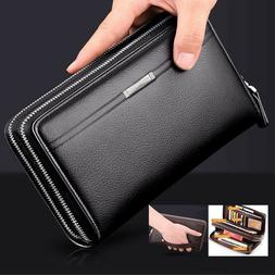 Men Wallets Long PU Leather Cell Phone Clutch Wallet Purse H