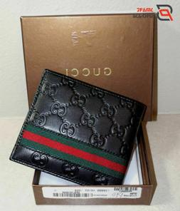 Gucci Men Web Black Luxury Style Leather Wallet Brand New