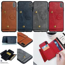 Mens Business Card Pocket Wallet Stand Cover Phone Case For