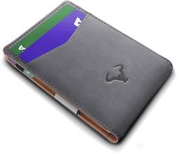 "Bulliant Mens Front Pocket Wallet For Men 9Cards 3""x4.25"",RF"