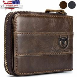 Mens Genuine Leather Wallet RFID Blocking Zip Around ID Card