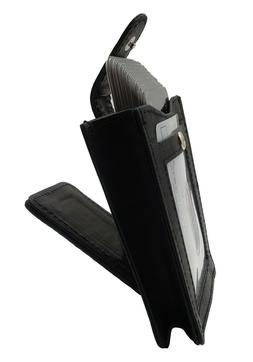 MENS Leather Magnetic Money Clip With Expandable Card Pouch,