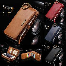 MENS Leather Removable Wallet Flip Card Case Cover for iPhon