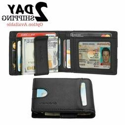 Mens Leather Slim Front Pocket Bifold Wallet Credit Card Hol