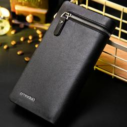 Mens Leather Wallets Credit ID Card Holder Zipper Purse Long