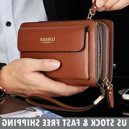 Mens Leather Zipper Long Wallet Phone Business Bag Card Chec