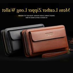 Mens Long Wallet Leather Zipper Bifold Purse Clutch Bag Phon