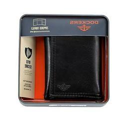 mens rfid blocking zippered trifold wallet black