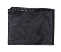 mens rfid marbled leather bifold wallet black