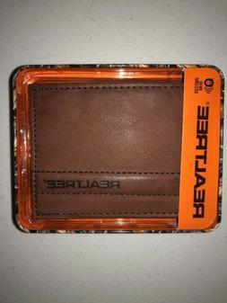 Realtree Men's Traveler Brown Tri-fold Wallet RFID Securit