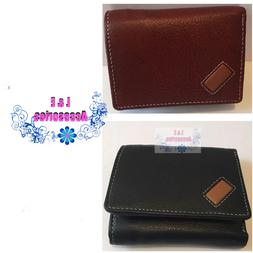 Mens Trifold Genuine Leather Wallet black Tang With hidden z