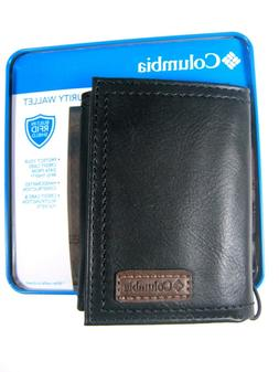 Columbia Mens Trifold Security RFID Blocking Leather Wallet