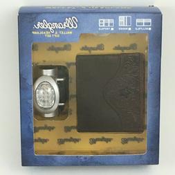 Wrangler Mens Wallet & Headlamp Gift Set Brown Leather Craft