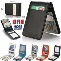 Mens Wallet Bifold Genuine Leather RFID Blocking Slim Wallet