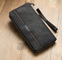 Mens Wallet Genuine Leather Long Zipper Clutch Card Holder P
