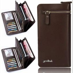 Mens Wallet Leather Long with Zipper Male Money Card Holder