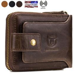 Mens Womens Genuine Leather Wallet RFID Blocking Zipper Bifo