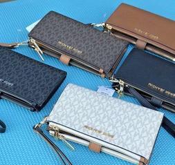 Michael Kors MK Signature  Double Zip Phone Wallet Wristlet
