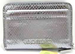 Michael Kors Money Pieces Card Case Pewter Metallic Zip Arou