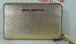 Michael Kors Money Pieces Pale Gold Leather Zip Around Coin