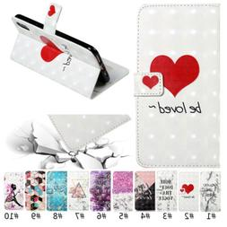 New 3D Painting Flip Card Magnetic Wallet Leather Phone Case