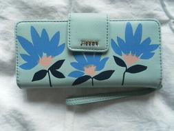 NEW AUTH FOSSIL MADISON ZIP CLUTCH  FIOWER LIKE LIGHT BLUE W