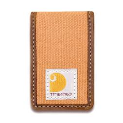 New Carhartt Brown Money Clip Full Grain Leather & Canvas w/