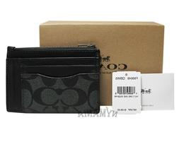 New COACH F66649 Men's Multiway Zip Card Case Wallet Signatu